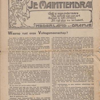"""Je Maintiendrai ( in samenwerking met """"Christofoor),4e Jaargang No 19 (59), 1e Juninummer 1944."""