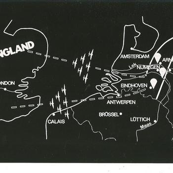 Zwart wit kaart Operatie Market Garden