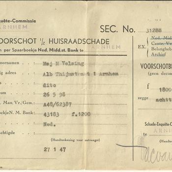 Schade-Enquete-Commissie Arnhem   -  voorschot Huisraadschade Mej. M. Velsing alb. Thijmstraat 1 te Arnhem