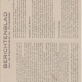 Berichtenblad van Je Maintiendrai en Christofoor
