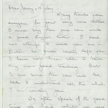 Brief van Sgt V.W. James aan J. en M. van Zandwijk, gedateerd 9 februari 1945