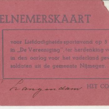 Deelnemerskaart voor een Liefdadigheidsavond op 5 april in de Vereniging te Nijmegen, ter herdenking van de in de oorlog voor het Vaderland gevallen soldaten in de gemeente Nijmegen