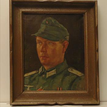 schilderij van Duitse soldaat, ingelijst