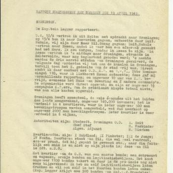 Rapport hoofdgewest het Noorden tot 19 april 1945