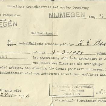 Toestemming grensovergang H.E.Beker , 22 november 1941