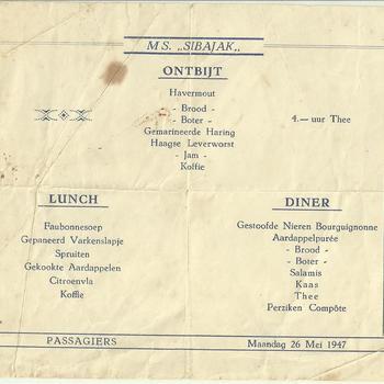Menu , ontbijt - lunch - diner, passagiers M.S.. Sibajak