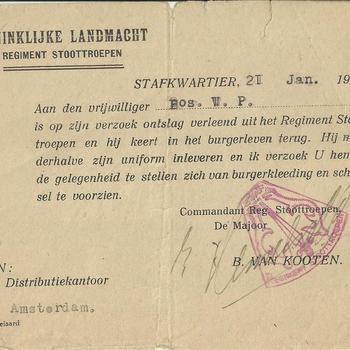 Stafkwartier Koninklijke Landmacht, Regiment Stoottroepen schrijft aan den vrijwilliger W.P.Bos dat op zijn verzoek ontslag is verleend uit het Regiment stoottroepen.