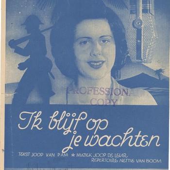 collectie Keesing, Ik blijf op je wachten, van Joop van Pam en Joop de Leur, repertoire Nettie van Boom