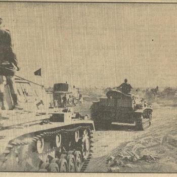 bij de Duitsche troepen in Afrika,  de opmarsch van een tankregiment door de woestijn    20 mei 1941