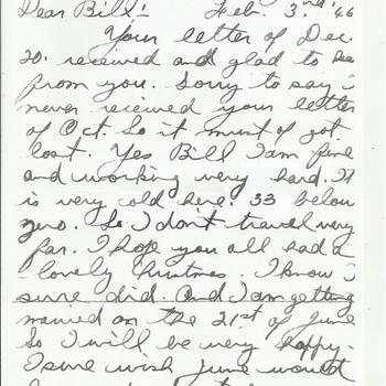 brief, handgeschreven, van een Canadese soldaat Eddie aan Bill