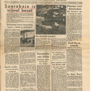 Het Vrije Volk, Democratisch, Socialistisch Dagblad, 1ste jaargang,  12 november 1945