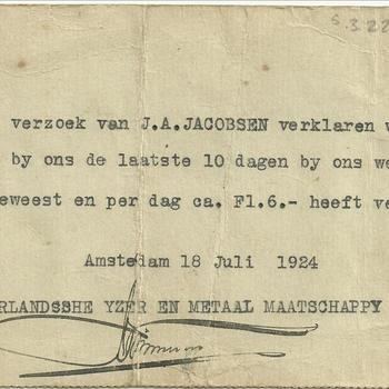 Verklaring van Arbeid, J.A. Jacobsen, 1924
