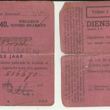 Rijkaart dienstjaar 1938-1939 en 1939-1940 van dhr van den Bosch
