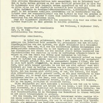 Brief van het bisdom Roermond over dankbrief van kardinaal Maglione, d.d. 2 september 1942
