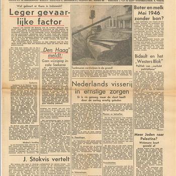 Het Vrije Volk, Democratisch, Socialistisch Dagblad, 1ste jaargang,  5 november 1945