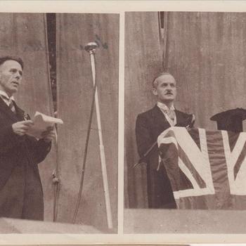 """Fotodruk van """"Chamberlain"""" t.g.v. de uitvoering het toneelstuk """"Van Tyrannie tot Vrijheid"""" in 1945 te Terborg."""
