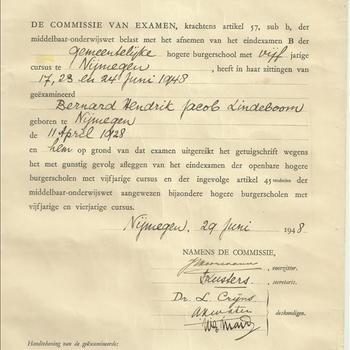 Getuigschrift ( Hogere Burgerschool B ) vijfjarige cursus te Nijmegen van B.H.J. Lindeboom, 29 juni 1948