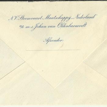 Lege enveloppe van N.V. Stoomvaart Maatschappij Nederland, M.S Johan van Oldenbarnevelt