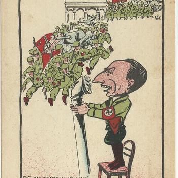 geillustreerde kaart -  karikatuur    de onvergelijkelijke radio-omroeper Josef Goebbels