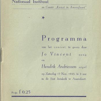 programma van het concert, te geven door Jo Vincent zang en Hendrik Andriessen orgel,  op zaterdag 17 november 1945 te Amersfoort
