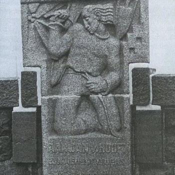gedenksteen, Jan van Hoof, pijler Waalbrug, Nijmegen