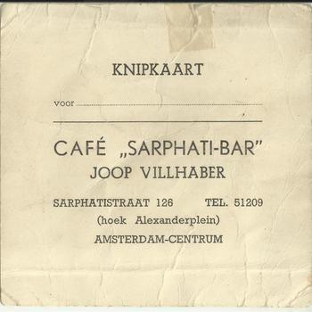Knipkaart van Cafe Sarphati-Bar Joop Villhaber Amsterdam