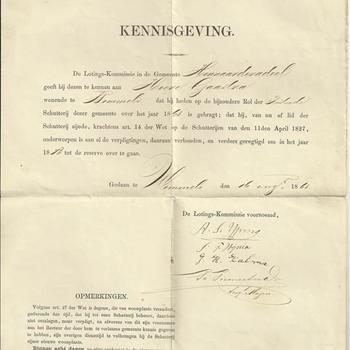 kennisgeving  van de lotings-kommissie der Schutterij van de gemeente Hennaarderadeel