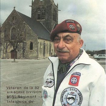 Ansichtkaart met portet veteraan 505 PIR, 82nd Airborne,