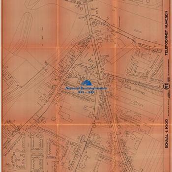 Nijmegen, schaal 1:1000, Telefoonnet Nijmegen, PTT, Telefoondistrict Arnhem, blad nummer 10