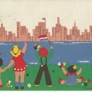 geïllustreerde kaart    To one of the children of the U.S.A.   Nederlandse kinderen zwaaien naar  Amerika, het land aan de andere kant van het water