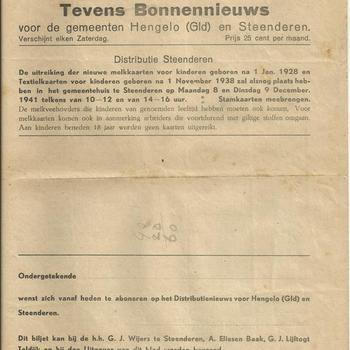 Distributienieuws tevens bonnennieuws voor de gemeenten Hengelo (Gld) en Steenderen, zaterdag 6 december 1941
