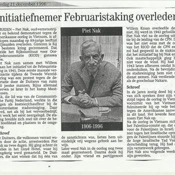 Initiatiefnemer Februaristaking overleden, Piet Nak, 1906-1996