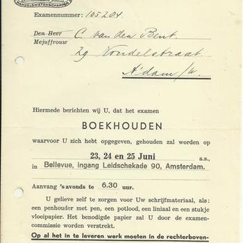 Vereeniging van leeraren in de Handelswetenschappen, oproeping voor het examen op 23,24 en 25 juni  1941