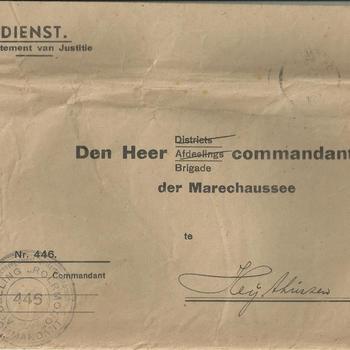aan Den Heer commandant der Brigade der Marechaussee te Heythuizen
