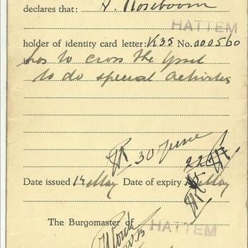 Verklaring, van de burgemeester van Hattum dat Antoon Roseboom geboren op 19 mei 1922 te Hattem, de IJssel mag oversteken om speciale opdrachten uit te voeren