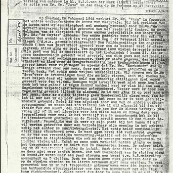 Verslag van matroos 1e kl. W.J.C. van der Mark betreffende de actie van Hr. Ms. Java in de slag op de Javazee op 27 februari 1942