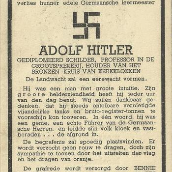 bidprent, spotprent  van Adolf Hitler