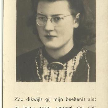Bidprent van Theodora Agnes van Pelt