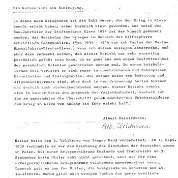Dagboek: Kriegsereignisse und Kriegserlebnisse in Kleve 1939-1945