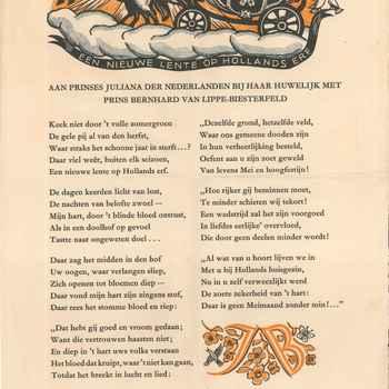 Affiche gedicht ter gelegenheid huwelijk Juliana met Prins Bernard