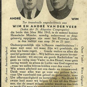 bidprentje, Wim en André van der Veer