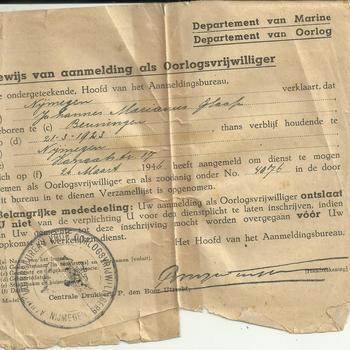 Bewijs van aanmelding als Oorlogsvrijwilliger