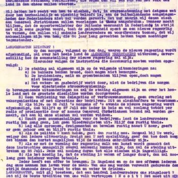 Proclamatie; vorming nieuwe regering door NSB