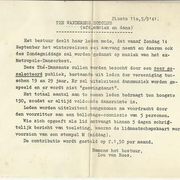 The Wanderers Hotclub  afdeling muziek en dans 5 september 1941  aankondiging dansmiddag
