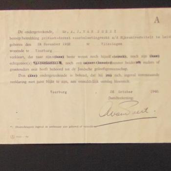 verklaring van dhr van Soest dat hij en zijn familieleden niet behoorden bij de Joodse gemeenschap  oktober 1940