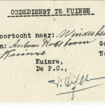 Bewijs van doortocht, van de Ordedienst te Kuinre voor Antoon Roseboom geboren op 19 mei 1922 te Hattem,