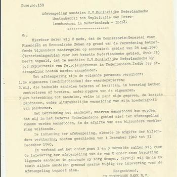 De Twentsche Bank over afstempeling aandelen in Petroleumbronnen te Nederlands-Indië, 28 oktober 1940