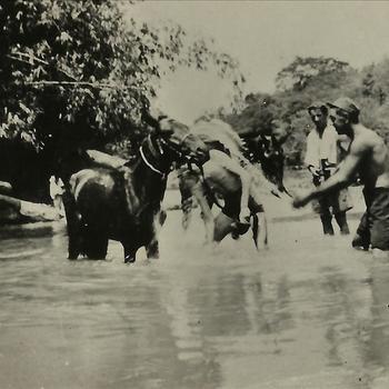 Indië na WO 2, Java; kali, paard, militair, oever