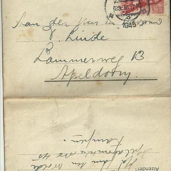 brieven voor de familie Linde van der Meij te Apeldoorn periode 1944 - 1945  brief  40 t/m 47