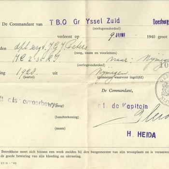 Groot verlof voor dhr  J.G.J. Peters te Nijmegen, lichting 1928,  door de Commandant van T.B.O. Yssel Zuid te Doesburg, verleent op 9 juni 1940